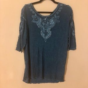 Free People teal sequined shirt
